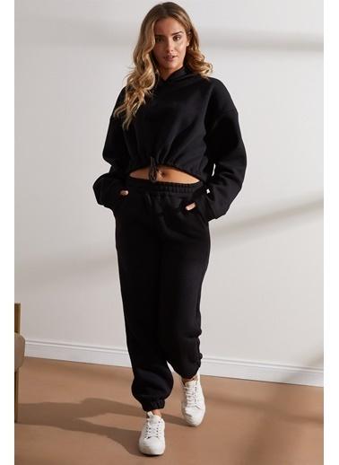 Setre Siyah Crop Sweatshirt Jogger Eşofman Takımı Siyah